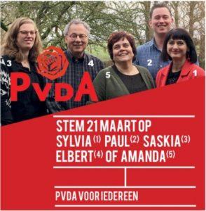 Kandidaten gemeenteraadsverkiezingen PvdA Hollands Kroon; Sylvia Buczynski, Paul Medema, Saskia Denneman, Elbert Volkers en Amanda van Dijk